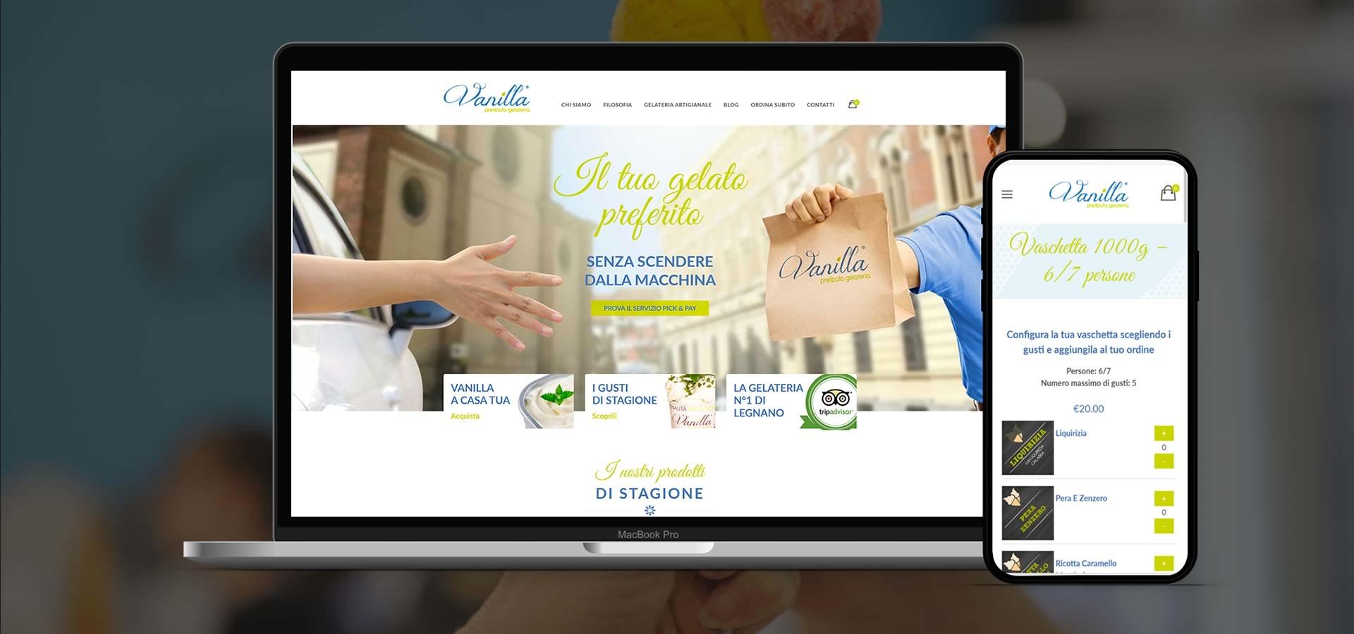 Inbound marketing ecommerce sito web vanilla gelaterie